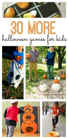 30 More Halloween Games for Kids! We've rounded up the best ideas for lots of Halloween fun this fall. If you're in charge of planning the Halloween party for school, you'll love these 30 DIY Halloween games for kids and for adults. Halloween Designs, Halloween Tags, Soirée Halloween, Halloween Games For Kids, Halloween Class Party, Halloween Karneval, Halloween Birthday, Couple Halloween, Holidays Halloween