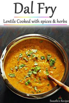 Dal fry- Dal fry is a simple Indian dish made with lentils aka dal and spices. This simple yet comforting dish is protein packed and tastes delicious. Lentil Recipes, Veg Recipes, Spicy Recipes, Curry Recipes, Cooking Recipes, Urad Dal Recipes, Paneer Recipes, Dal Fry, Indian Dessert Recipes