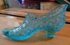 Vintage Daisy and Button Sollers & Co Fine Shoes Glass Slipper Aqua Blue L@@K