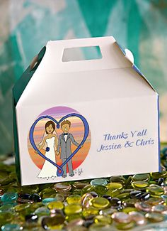Our Heart Couple design has been refreshed and made more sophisticated. You will pick your skin, hair, gown, accessory color to match your own. The heart design will also be your accessory color. Extend your Heartfelt Thanks to your guests in a personal way with these sturdy wedding favor gable boxes at $2.09 each, minimum order of 50.See more options at www.favorsyoukeep.com or call 512.323.0600 #cuteweddingfavors #beachweddingfavors #photoweddingfavors