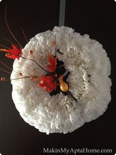 Coffee Filter Fall Wreath by MakinMyAptaHome