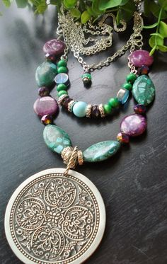 Medallion Statement Necklace Bohemian Jewelry by AJBcreations, $50.00
