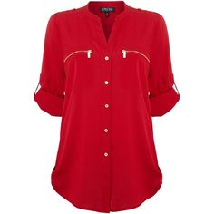 Episode Zip pocket shirt (97 CAD) ❤ liked on Polyvore featuring tops, blouses, shirts, blusas, red, women, long sleeve blouse, long sleeve red blouse, vneck shirts and longsleeve shirt