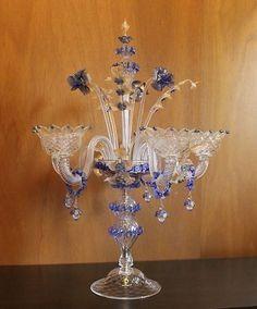 Blue Gold Murano Venetian Glass Candelabra - 5 Candleholder 31' by Fornasier