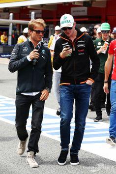 The two Nico's: Nico Rosberg and Nico Hülkenberg at the drivers' parade - 2014 Spanish GP