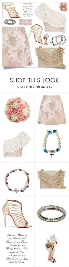 """Say I Do: Summer Weddings"" by samra-bv ❤ liked on Polyvore featuring Miss Selfridge, Miguelina, Cynthia Rowley, Christian Louboutin, Memo Paris, summerwedding, contestentry, polyvoreset and shopjewelry"
