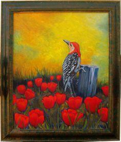 RK Ives Original Oil Painting : Framed Art - Woodpecker Bird, Tulip Field #Realism