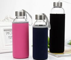 Trendy Glass Waterbottle with Insulating Case www.hydrousbottle.com