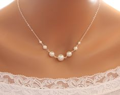 Elegant pearl necklace - Sterling Silver, wedding bridal jewelry, bridesmaid gifts favor, flower girl necklace, anniversary gift ideas. $34.00, via Etsy.