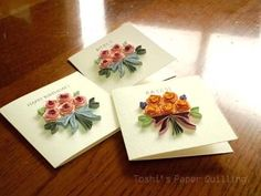 Toshi の制作|Toshi's Paper Quilling ♪ -12ページ目 Quilling Birthday Cards, Paper Quilling Cards, Paper Quilling Designs, Quilling Craft, Quilling Patterns, Diy And Crafts, Paper Crafts, Quilled Creations, Quilling Tutorial