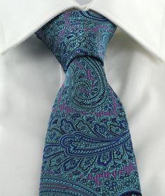 Haddon & Burley Aqua Ornate Paisley Silk Tie