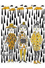 CamiaPia Poster Svart Regn A4 Svart/gul - Posters, bilder & skilt   Ellos Mobile