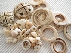Antique North and West African shell beads and ornaments.