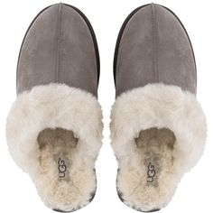 UGG® Women's Scuffette Slippers - Stormy Gray (880 NOK) ❤ liked on Polyvore featuring shoes and slippers