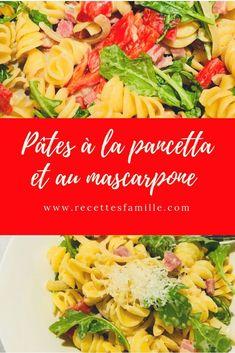 Pâtes à la pancetta et au mascarpone. Prêt en moins de 30 minutes! #recette #recettesfamille #pâtespancetta #recettefacile #recetterapide #recettesansnoix #recettesansarachide Pasta Salad, Ethnic Recipes, Food, Al Dente, Drizzle Cake, Quick Recipes, Mascarpone, Dish, Crab Pasta Salad