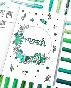 Bullet Journal March Cover Pages You& Want to Steal! > > > Bullet Journal March Cover Pages You'll Want to Steal!Bullet Journal March Cover Pages You'll Want to Steal!Spring is on it's way s Bullet Journal School, Bullet Journal Budget, Bullet Journal Leaves, Bullet Journal Simple, March Bullet Journal, Bullet Journal Monthly Spread, Bullet Journal Quotes, Bullet Journal Cover Page, Journal Fonts