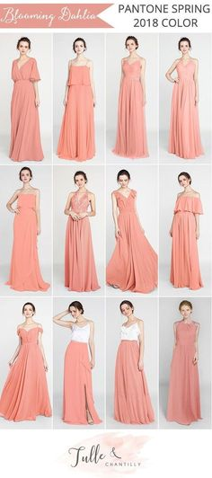 Wedding colors coral champagne bridesmaid dresses ideas for 2019 Champagne Bridesmaid Dresses, Bridesmaid Dress Colors, Wedding Bridesmaid Dresses, Wedding Dress, Maid Of Honor Dress Long, Maid Of Honour Dresses, Trends 2018, Vestidos Color Coral, Peach Gown