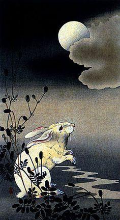 """Hare and Moon"" Big Japanese Art Print by Koson Asian Art Japan   eBay"