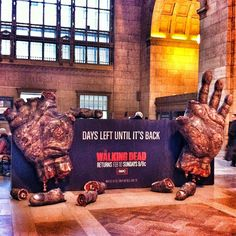 Early in February two giant walker hands popped up in Union Station.  The hub for all train traffic, both subway and commercial railway in Toronto.  I managed to catch the giant hands with my iPhone 3 days before Walking Dead was back on air on Feb 10th.  Pretty sure they didn't do this anywhere else as it was even featured on the Walking Dead FB page.