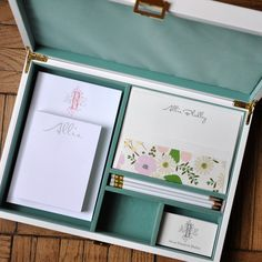 Haute Papier's mix-and-match, personalized stationery desk set is sure to wow! The Ocean Collection is flat printed and letterpressed in charcoal, peace & coral inks and customized with your name and monogram. The pencils are a coordinating white.