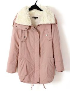 Sherpa Lapel Long Sleeve Warm Coat Pink