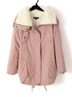 Sherpa Lapel Long Sleeve Warm Coat Pink