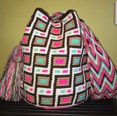 Original Colombian Handmade Wayuu Mochila Bucket Shoulder Crossbody Bag   Clothing, Shoes & Accessories, Women's Handbags & Bags, Handbags & Purses   eBay! Tapestry Bag, Tapestry Crochet, Bead Loom Patterns, Crochet Purses, Yarn Projects, Crochet Accessories, Loom Beading, Large Bags, Boho Look