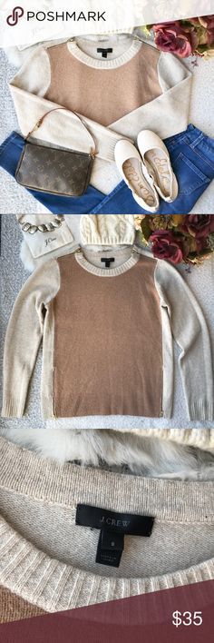 J. Crew Wool Sweater✨ Beautiful sweater. Gently used. Has very little signs of wear. Was NEVER put in the dryer so this has not shrunk. Has cool zipper details on the shoulders and the bottom of the sweater. J. Crew Sweaters Crew & Scoop Necks