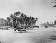 Douglas SBD-5 Dauntless dive bombers belonging to 231st Bombardment Squadron, US Marine Corps  Madzhouro airfield, Marshall Islands, 1944.