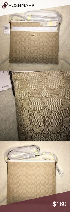 NWT 🔥AUTHENTIC COACH BAG Adorable file bag ! NWT. Gold accents with white leather. Will accept reasonable offer Coach Bags