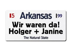 Arkansas. Alles rund ums Nummernschild, Kennzeichenhalter, Artikel aus Emaille, LED - Schilder, Hausnummer, Verkehrsschild, Blechschild, Nostalgieschild,