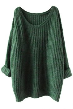 #Free #Shipping Worldwide for Womens Loose Crew Neck Long Sleeve #Pullover #Sweater #Green, on sale now at our lowest price ever! Shop PinkQueen.com, the sexy way to save.