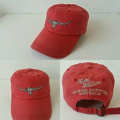 05a3efc68a9 RM Williams Steer Head Baseball   Strapback Cap Cotton in Red