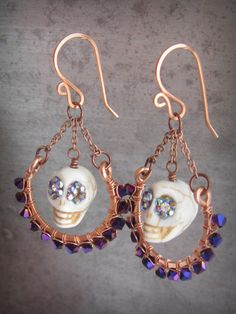 Day of the Dead skulls copper hoop earrings Dia de los Muertos earrings sugar skull earrings