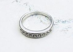 9 Stone Classic Wedding Ring 18K Platinum Plated Ring Made with Genuine Austrian Crystals TripleClicks