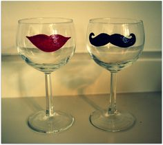 his and hers painted wine glasses. folkart glass craft paint + 350 degrees for 30 minutes <3