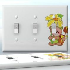 DIY Do It Yourself Home Decor - Easy to apply wall plate wraps | Sunflower Bear  Girl teddy bear with flower and honey  wallplate skin sticker for 3 Gang Toggle LightSwitch | On SALE now only $5.95
