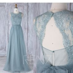 Bridesmaid Dress Dusty Blue,Round Neck Open Back Wedding Dress,Illusion Lace Prom Dress with Sash,A Line Evening Dress Floor Length(LS311) by RenzRags on Etsy https://www.etsy.com/listing/513577724/bridesmaid-dress-dusty-blueround-neck