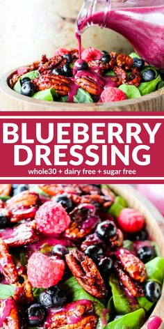 This Blueberry Dressing is quick and easy! The color can't be beat! Plus it's sugar free, dairy free, and Whole30 compliant. It's sure to brighten up any salad!