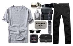 """""""Untitled #2122"""" by credendovides ❤ liked on Polyvore featuring Kiehl's, Prada, Calvin Klein, 21 Men, Gucci, Men's Society and Apothecary 87"""
