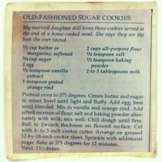Old Fashioned Sugar Cookie Recipe