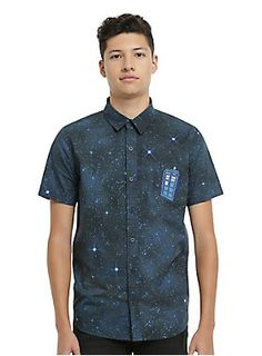 <p>Fashion trends change, but you know what's always in style? The TARDIS. Keep your outfit on point as you travel through space and time in this short-sleeved woven from Doctor Who. It features a galaxy print, the TARDIS embroidered on the pocket and front button-up closure.</p>  <ul> 	<li>100% cotton</li> 	<li>Wash cold; dry low</li> 	<li>Imported</li> 	<li>Listed in men's sizes</li> </ul>