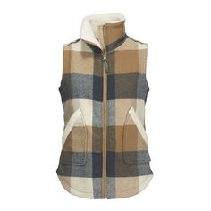 GIANT BUFFALO WOOL VEST II WOMENS ❤ liked on Polyvore featuring outerwear, vests, brown waistcoat, tartan vest, vest waistcoat, brown wool vest and wool waistcoat