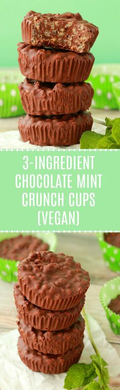 Vegan 3-ingredient chocolate mint crunch cups. #Christmas