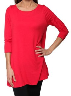 Free to Live Women's Flowy Elbow Sleeve Jersey Tunic Blouse Top Made in USA (Large, Red)