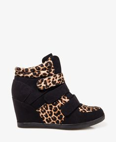 Leopard Print Wedge Sneakers