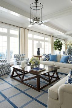 Coastal Blue and White Interiors. James Schettino Architects.