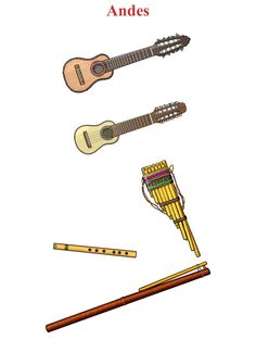 ANDES. (Up/ Down, Left/ Right) 1.- Charango : chordophone. 2.- Walaycho: chordophone / lute family. 3.-Zampona: aerophone / air reed. 4.-Quena: aerophone / air reed. 5.- Moceno: aerophone / air reed