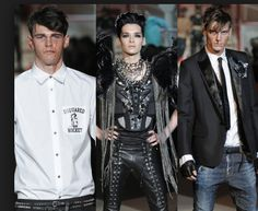 DSquared took inspiration from the 1960s punk style tribe. These rockers are wearing black with eyeliner and plenty of leather and zippers and hooks.