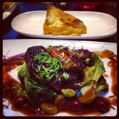 Day #130 - dinner date of roast duck with broad beans & cherry sauce + sweet potato dauphinoise
